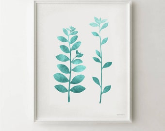 Turquoise art print, Nature print Download, Simple Botanical PRINTABLE Turquoise wall print, Leaf Branches art, Teal wall art, Bathroom art