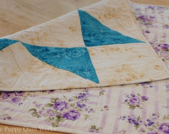 Quilted Table Topper, Quilted Centerpiece, Reversible Table Topper, Quilted Table Topper Reversible, Blue Table Decor, Purple Table Decor