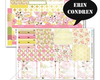 Blush Pink Gold Floral MONTHLY Planner Kit / for Erin Condren Planner / Life Planner Sticker / Monthly Sticker Kit #SQ00217-EC