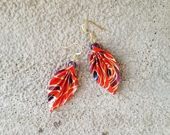 Origami Jewelry - Japanese Origami Leaf Earrings with Surgical Steel Hooks No.03562