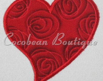 Heart embroidery applique
