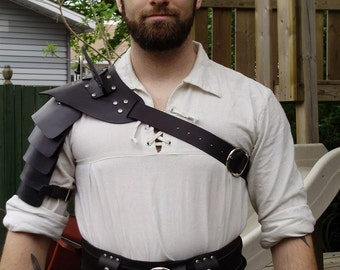 Gladiator hardened leather shoulder armor for costume, black version. Spartacus. SCA, LARP..