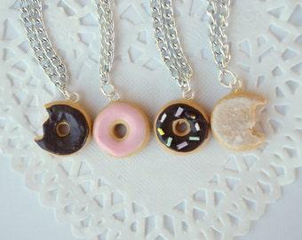 Donut Doughnut Charm Necklaces Polymer Clay Jewelry dollhouse miniature