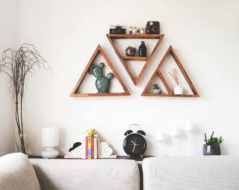 Set of 3 triangle shelves - Triangle shelves Triangle shelf  Large triangle shelves Pallet wood shelf Geometric shelf Timber shelves Nursery