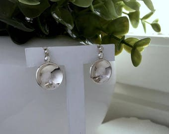 Silver earrings Cups with white cz, Sterling silver