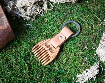 Wooden beard comb Zebrano wood. Mini Beard Comb Keychain. Brown leather Keyring. Personalized comb. Handsome. Boyfriend, groomsman gift.