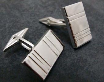 Barcode Cufflinks - Sterling Silver Cuff Links with Modern Geometric Barcode Design