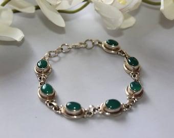 Green Onyx Bracelet set in solid sterling silver.