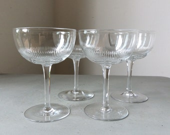 c1910s Fine Antique Cut Crystal Glass Champagne Coupes Glasses