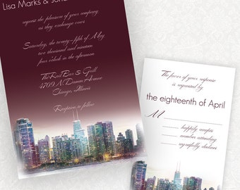 Penthouse Dreams, Chicago skyline wedding invitations from watercolor, urban chic with stylish typography. Custom wording and colors, ombre