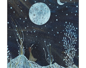 Moon Art // Night Sky // Fine Art Print // Emma & the valley of two moons