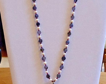 Garnet, Pearl, and Iolite necklace with matching earrings
