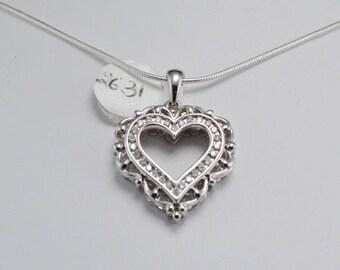 1/4 Carat Diamond Sterling Silver Pendant, Diamond Heart Pendant, April Birthstone