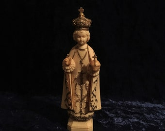 Extra Nice Vintage Hand Painted Plastic Infant Of Prague Statue