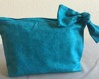 Homemade, self standing, Teal and navy blue, bow bag, cosmetics & toiletry bag, miscellaneous bag