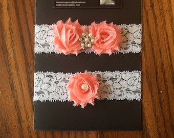 Coral and Lace Wedding Garter Set