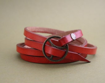 Leather Wrap Bracelet in Red leather with brass buckle as seen in Country Living Magazine