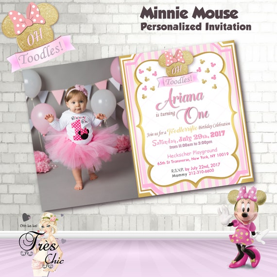 Minnie Mouse Pink and Gold InvitationMinnie Mouse Birthday