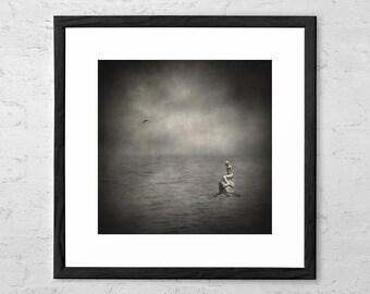 Ausencia Presencia y Una Sirena - Fine Art Photography - Surreal Art - Surreal Photography - Surreal Seascape - Dark Art - Mermaid Art Decor