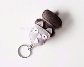 Felt rhino keychain, cute stuffed animal keyring, rhino figure, felt rhinoceros bags accessory, gift idea for her