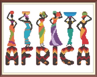Africa Modern Cross Stitch Pattern PDF Chart Colorful African Ethnic Women Font