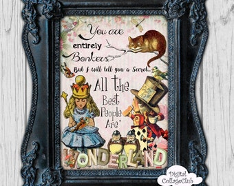 Alice in Wonderland Wall Art Digital Print Printable Decor Print Illustration Wall Hanging Tea Party Alice Mad Hatter Quote Home Decor Art