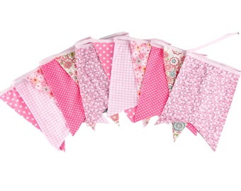 New Bigger Size 12 Flags Pinnk Fabric Banners Personality Kid's Bunting Party Birthday Garland Home Wedding Decoration