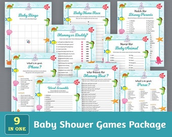 Baby Shower Games Package, Printable Party Games Bundle, Fun Baby Shower Games Set, Sea Creatures, Ocean, Unique Games Pack, SPKG, B006