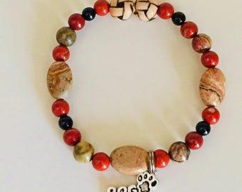 Dog Person Bracelet Dog Loss Charm Bracelet Dog Memorial Jewelry Southwestern Style Dog Lover Bracelet Dog Owner Gift Gemstone Dog Jewelry