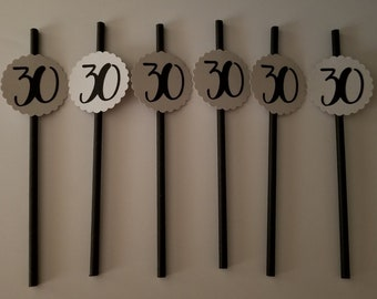 12 pack 30th Birthday Party Favor Straws