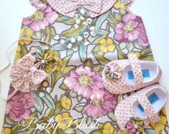 Floral A-line Ruffle Sleeve Dress Shoes Set Infant Outfit Baby Shoes Matching Headband
