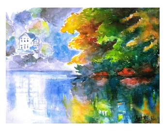 Art Print Lake View Painting