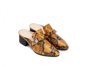 Women's Shoes, Leather Mules, Loafers, Clogs, Leather Shoes, Slip On Shoes, Yellow Shoes, summer Shoes, Low Heel Shoes, Snakeskin Shoes