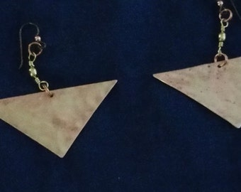 Copper Triangle Earrings****FREE SHIPPING