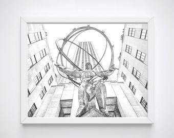 New York Sketches, New York Printable Art, Atlas Man New York Cit Instant Download, Black and White Sketches, Modern Art,