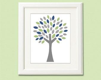 Navy , grey and green tree Art Print - 8x10 - Children wall art, Baby boy Room Decor, green, gray,  grey - UNFRAMED