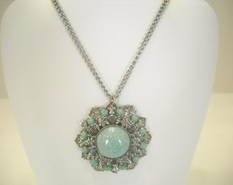 "Vintage Faux Turquoise Pendant Necklace (5676) 16"" Chain"