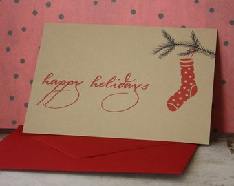 Happy Holidays Stocking note card set