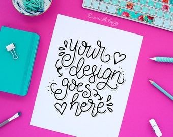Pink and Turquoise Styled Desktop Quote Mockup Photo