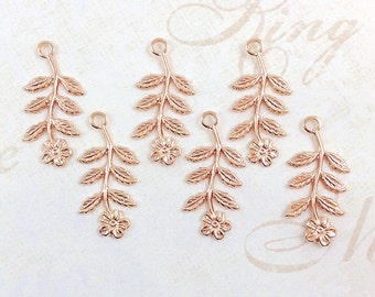 Rose Gold Flower, Brass Leaf, Brass Stamping, Flower Charm, Brass Drop, 14mm x 29mm - 6 pcs. (rg147)