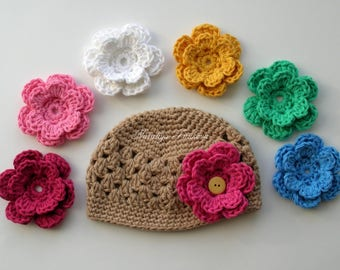 Crochet Baby Hat with 7 Flowers/COMING HOME hat/Baby hat/flower baby Hat/newborn baby hat/Baby girl Beanie/Newborn Beanie/Newborn Hat