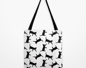 White & Black Cats Tote Bag, Printed Shoulder Bag