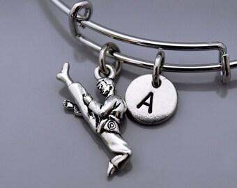 Karate bracelet, Karate fighters bangle, Black belt, Karate charm, Karate teacher, Martial arts charm, Expandable bangle, Initial bracelet