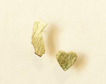 California  Love Heart Stud Earrings