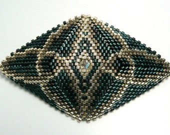 Blue and Silver Beaded Barrette, Celtic Knotwork, Beadwoven Barrette, Peyote Stitch, French Barrette, Spring Clasp, Hair Accessories