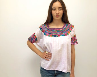 In Rainbows Blouse // vintage 70s dress top shirt ethnic boho hippie embroidered 1970s Oaxacan poncho bohemian tunic cotton Mexican // O/S
