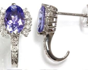 1.96 ct tw Natural Blue Violet Tanzanite & Diamond Gold Earrings