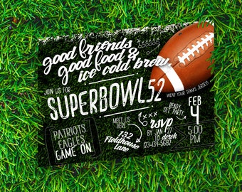 Superbowl Party Invitation, Football Party Invitation, Superbowl Invite, Superbowl 52 Party, Tailgate, Printable Digital File JPG or PDF