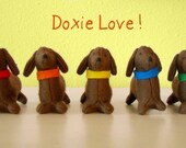 SALE Bag O' Doxies - Set of 5 Dachshunds with Colored Collars and Storage Bag