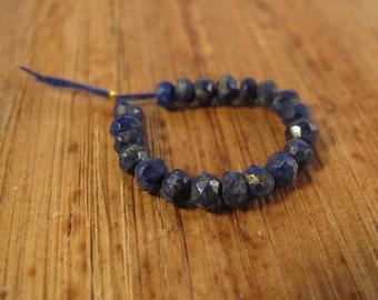 Natural Lapis Beads, 20 Faceted Lapis Lazuli Rondelles, 3mm - 4mm, 20 Count, Tiny Gemstone Rondelles, Jewelry Supplies (L-Lap3)